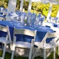 White wood chairs & Table Settings