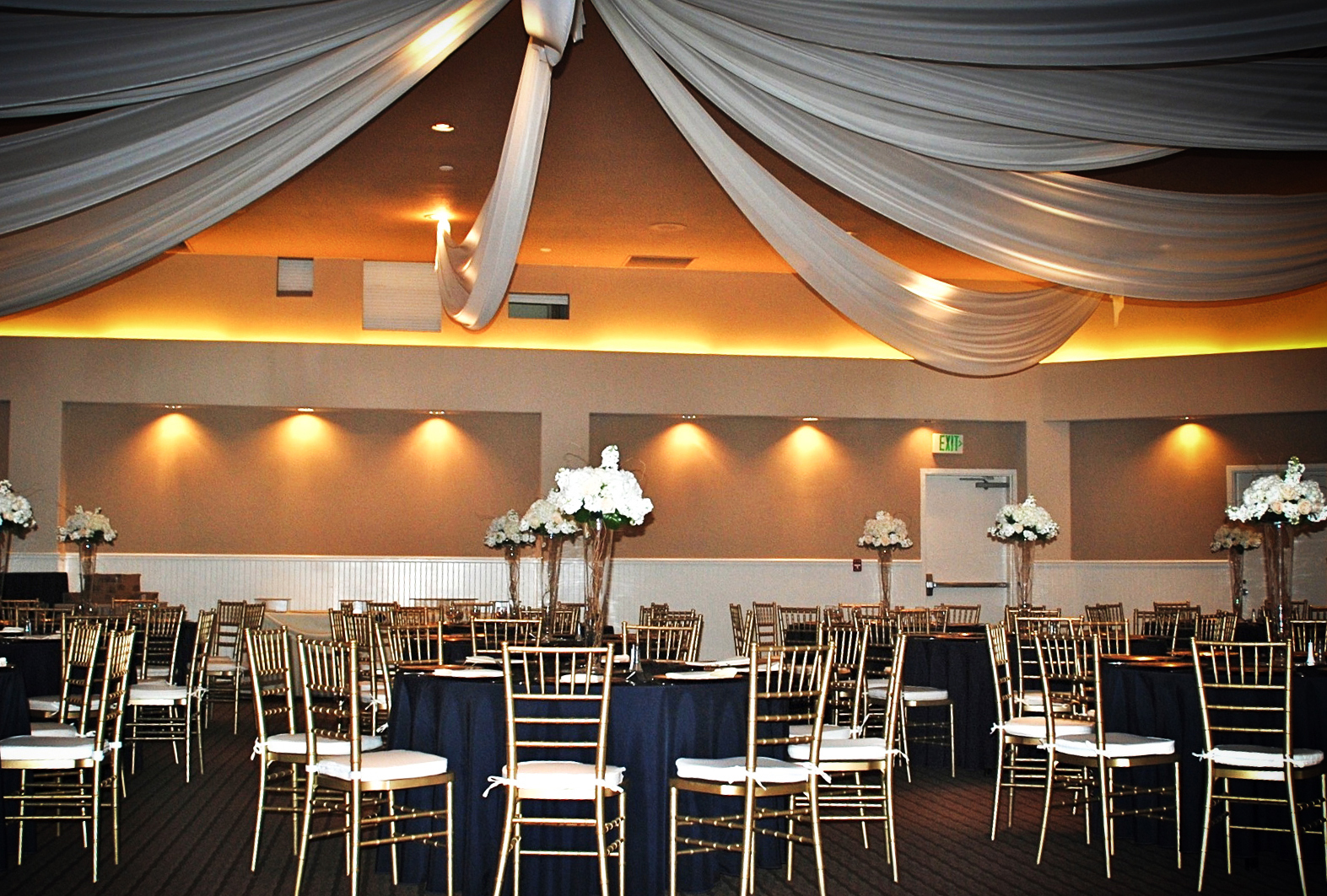 Haz Fabric Draping Above Chiavari Chairs