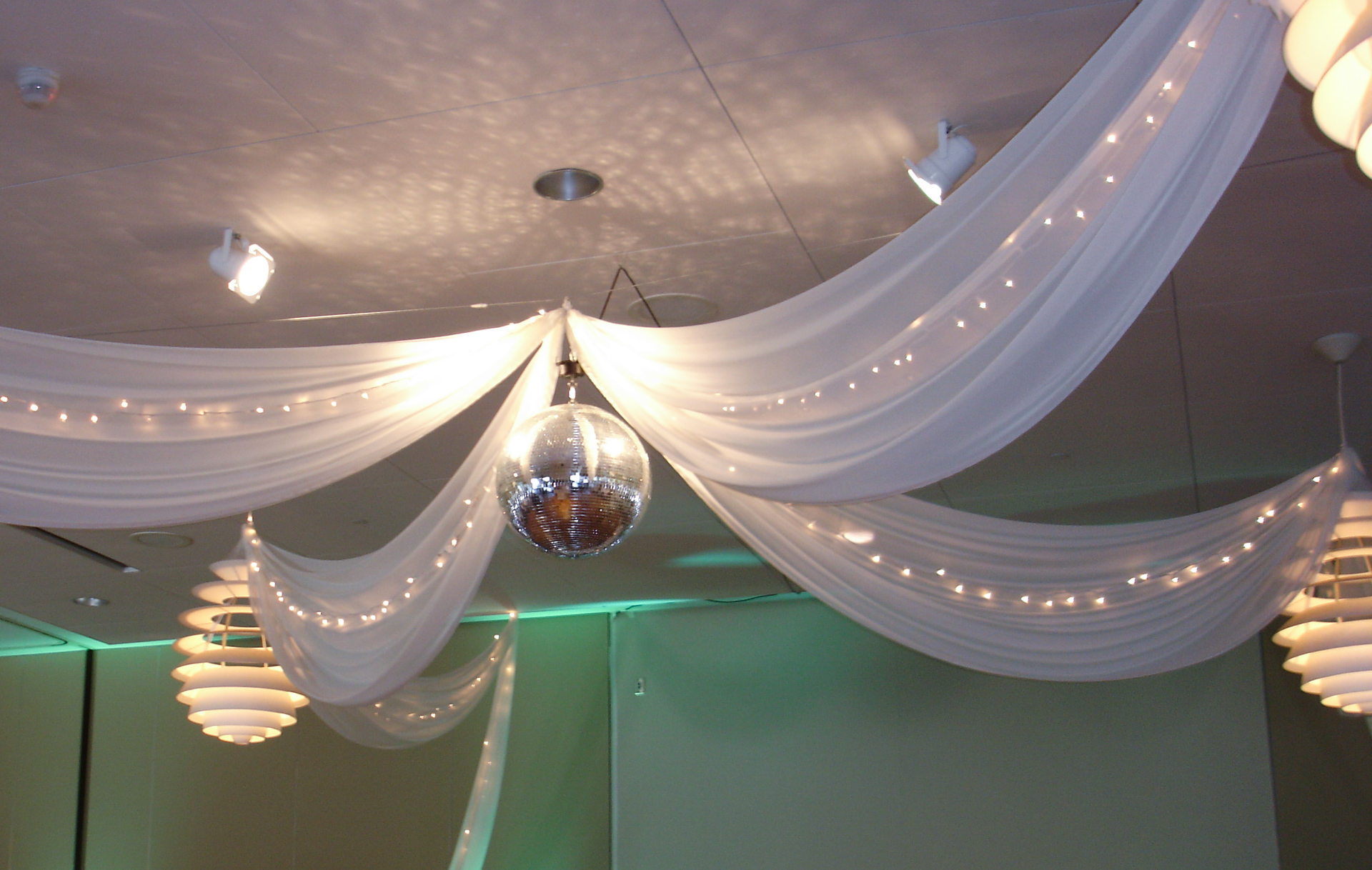 Disco Ball, Ceiling Draping with Tiffany Blue Accents.