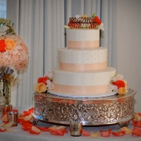Silver Scrolled Cakestand & Florals